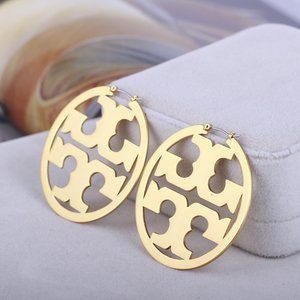 Tory Burch Micro-Standard Gold Round Earrigs
